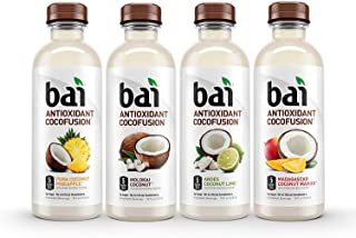 Bai Coconut Flavored Water, Cocofusions Variety Pack II, 18 Fluid Ounce Bottles, 12 count, 3 each of Andes Coconut Lime, Madagascar Coconut Mango, Molokai Coconut, Puna Coconut Pineapple
