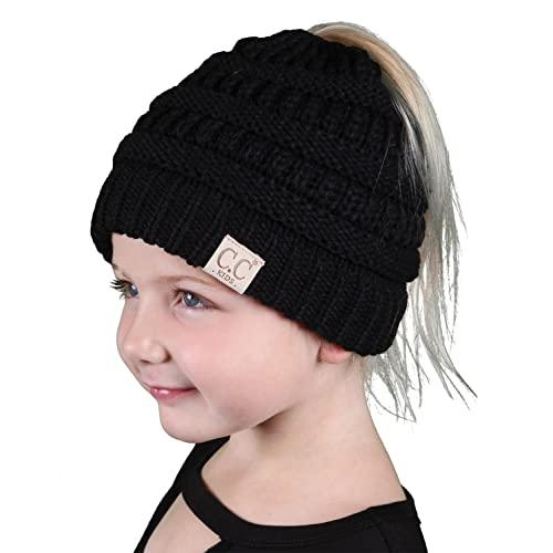 e5b3225f448 Funky Junque BeanieTail Children s Ponytail Messy Bun Beanie Solid Ribbed  Hat
