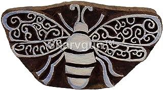 Sharvgun Batik Print Block Art Bumblebee Wooden Printing Block Textile Stamps Tattoo Clay Scrapbook Craft