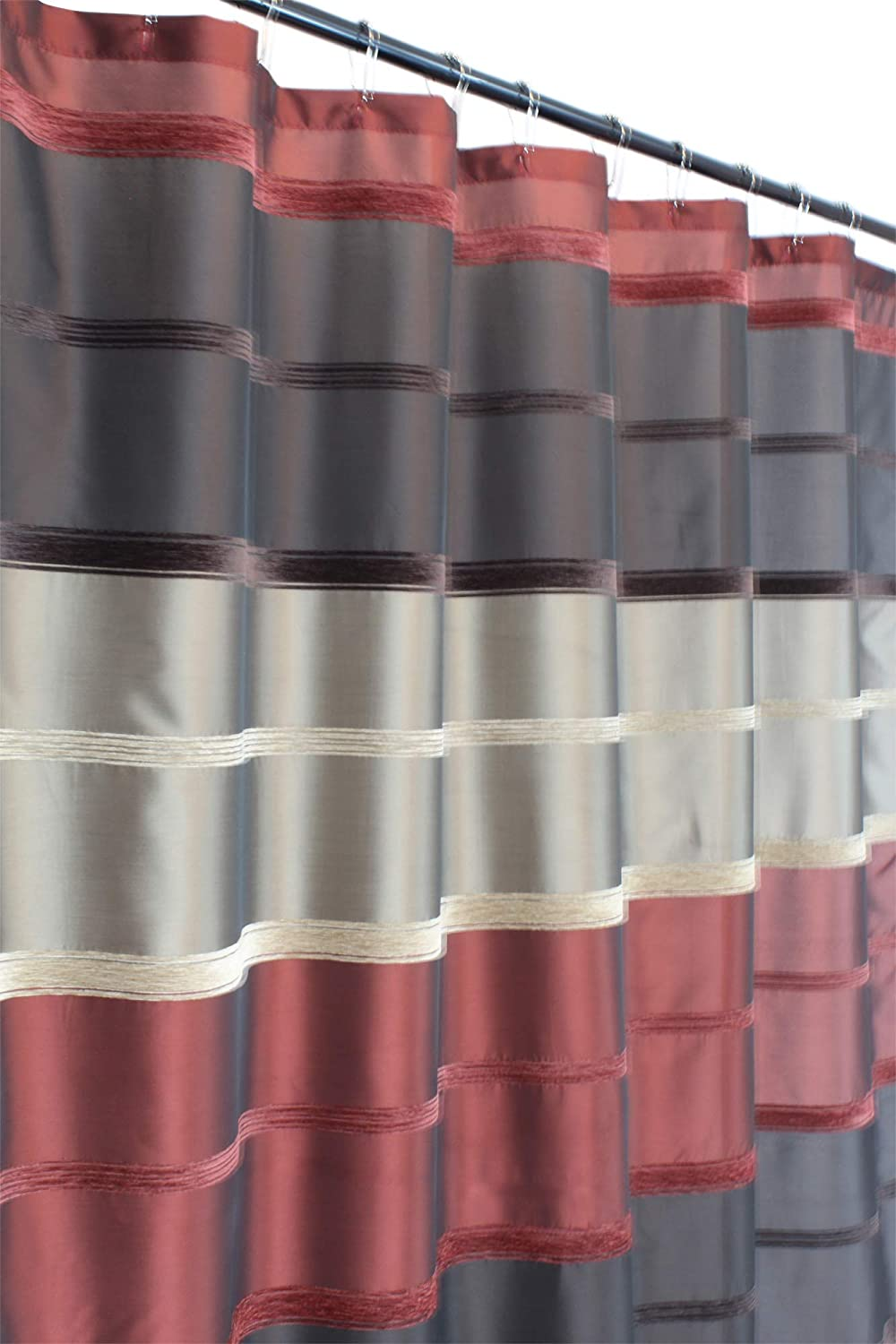 Max 75% OFF Burgundy Gorgeous Red Brown Taupe Fabric Curtain: Silk Faux Shower Stripe