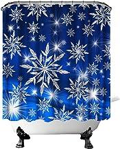 Snowflakes Shower Curtain Dark Blue Christmas Bathroom Curtain with Snowflakes and Shinning Light Winter Season Holiday Ho...