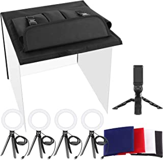 Neewer Photo Studio Box, 24x24inches Table Top Photo Light Box Continous Lighting Kit with 5 Tripod Stands, 4 LED Ring Lig...
