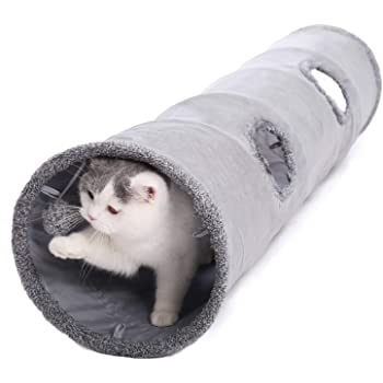 PAWZ Road 猫 トンネル とんねる おもちゃ 折りたたみ式 頑丈 ぽんぽん付きトンネル M グレー