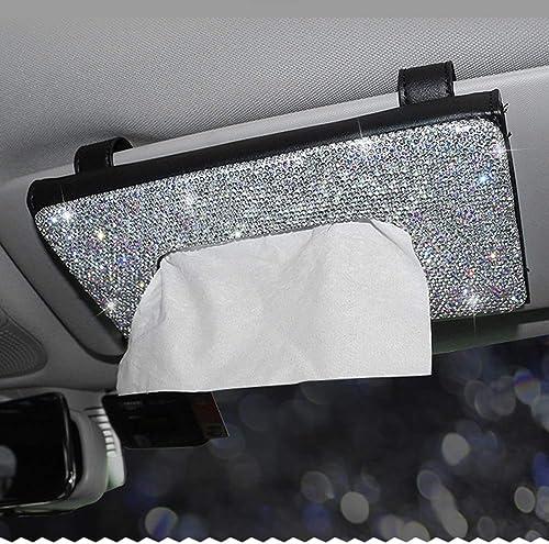 Dotesy Bling Bling Car Visor Tissue Holder Leather Crystals Paper Towel Cover Case for Women