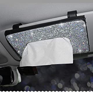 Dotesy Bling Bling Car Visor Tissue Holder Leather Crystals Paper Towel Cover Case for Women