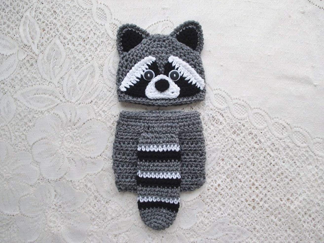 Baby Raccoon Crochet Hat and Diaper Cover Set - Baby Photo Prop - Baby Shower Gift - Available in 0 to 24 Months