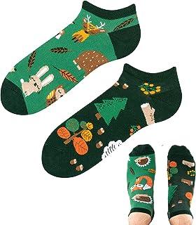 TODO COLOURS - Calcetines deportivos divertidos - Forest Animals Low - Multicolor - Calcetines tobilleros para hombre y mujer
