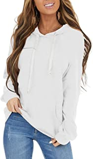 PRETTODAY Women's Color Block Lightweight Hoodies Long Sleeve Casual White Sweatshirts Loose Pullovers with Pocket