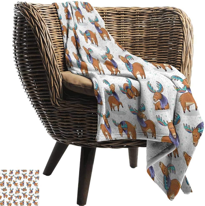BelleAckerman Wearable Blanket,Deer,Mooses in Cartoon Elks with Rainbow Antlers Kid Cheerful Comic Pattern,Ginger Turquoise Lavander,300GSM, Super Soft and Warm, Durable 35 x60