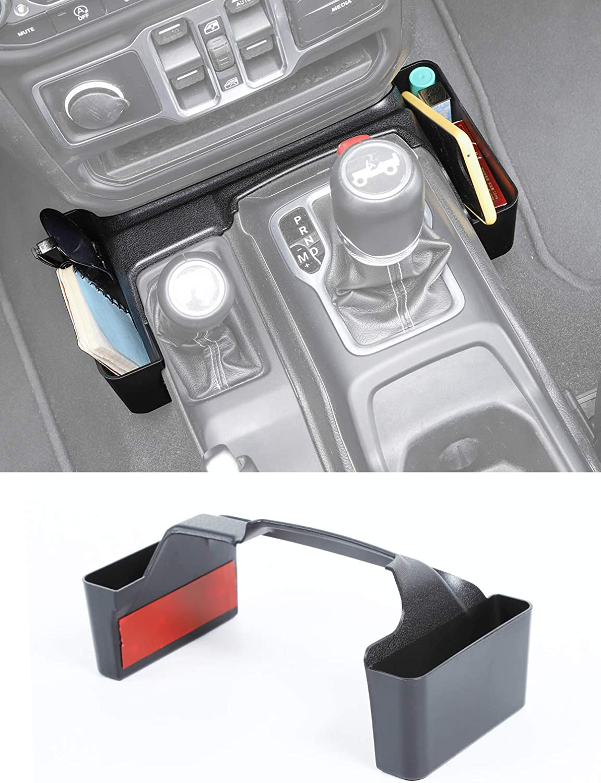 Savadicar GT-2 Shifter Storage Box, Gear Shift Console Side Tray Organizer for 2018-2021 Jeep Wrangler JL JLU & Gladiator JT Truck, Interior Storage Accessories, Black, 1 PCS (Upgraded Version)