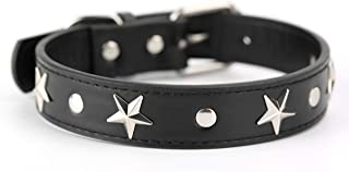 Mora Pets Leather Dog Collar for Small and Medium Dogs, Silver Star Studded Dog Collar