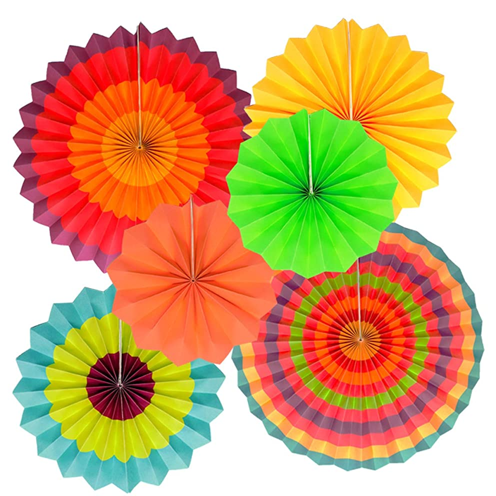 Fiesta Hanging Paper Fans Lantern Round Wheel Disc Design for Party,Event,Wedding Birthday Carnival Home Decorations (Set of 6 style1)