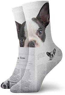 ASS, Pack de calcetines de vestir unisex Cute Bulldog francés Lectura Periódico Divertidos calcetines de poliéster