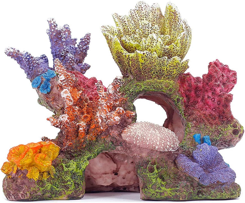 Miracliy Coral Reef Decorations Artificial Rock Decoration Vivid Mountain Cave Environments Ornaments Fish Tank Resin Deorations