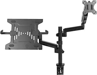 VIVO Dual Arm Monitor + Laptop Mount for 17 to 32 inch Screens and 10 to 15.6 inch Laptops/Pneumatic Height Adjustment, Fu...