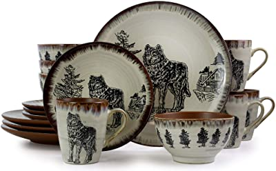 Elama Majestic Elk 16 Piece Luxurious Stoneware Dinnerware Set for 4