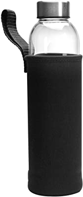 Primula Cold Brew Travel Bottle with Black Insulating Neoprene Sleeve - Borosilicate Glass and Stainless Steel Mesh Core - Dishwasher Safe - 20 oz. - Clear