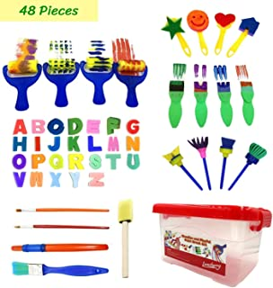 47pcs Kids Art and Craft Early Learning Painting Sponges Stamper Mini Paint Brushes Kit with 26 English Alphabets Drawing Tools (with Box)