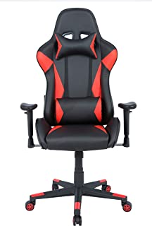 AmazonBasics BIFMA Certified Gaming/Racing Style Office Chair - with Removable Headrest and High Back Cushion - Red