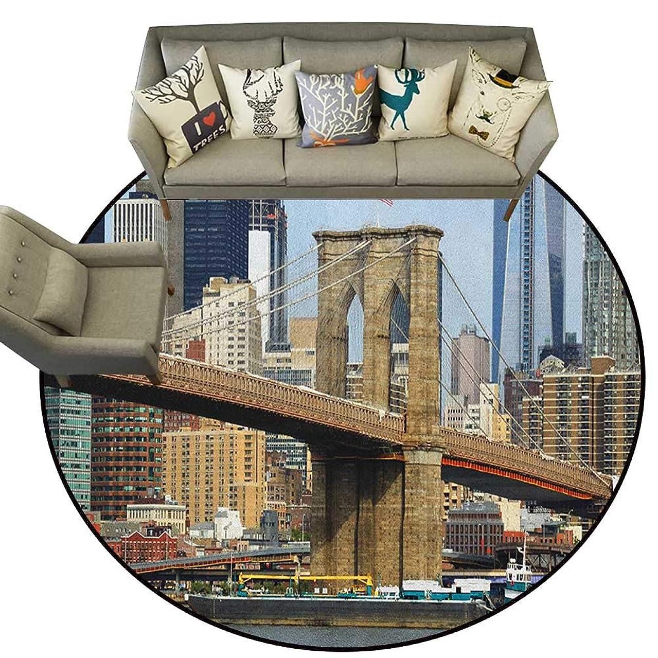 Urban,Custom Floor mats Skyline of Brooklyn New York USA Cityscape Bridge Buildings and River Coastal Scenery D78 Multi-USE Floor MAT