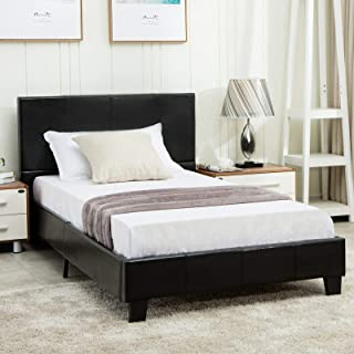 mecor Twin Size Bed Frame - Faux Leather Upholstered Bonded Platform Bed/Panel Bed - with Headboard - No Box Spring Needed - for Children Teens Adults,Black/Twin