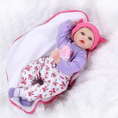 Senoow 22 Zoll Silikon Neugeborenen Lebensechte Baby Puppe Decke Lila Kleidung Hut Fuchs Muster Frühen Kindheit Kinder Spielzeug