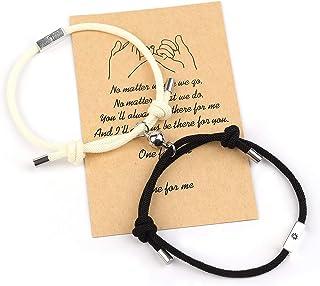 Magnetic Couples Bracelets,Adjust Size Magnet Bracelet for Couples Rope Braided Bracelet Gift for Women Men Boyfriend Girl...