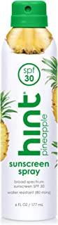 Hint Sunscreen, SPF 30, 6 fl oz, Oxybenzone Free, Paraben Free (Pineapple), Broad Spectrum SPF 30 Compressed Air Spray-On Sunscreen, Water Resistant, Pineapple Scented
