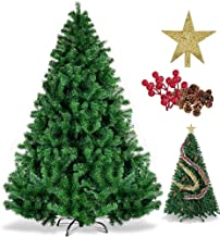 SINCHER Artificial Christmas Tree, 6ft Eco-friendly, 1250 Branches Premium Xmas Tree, Free Pinecones, Red Beans, Christmas...