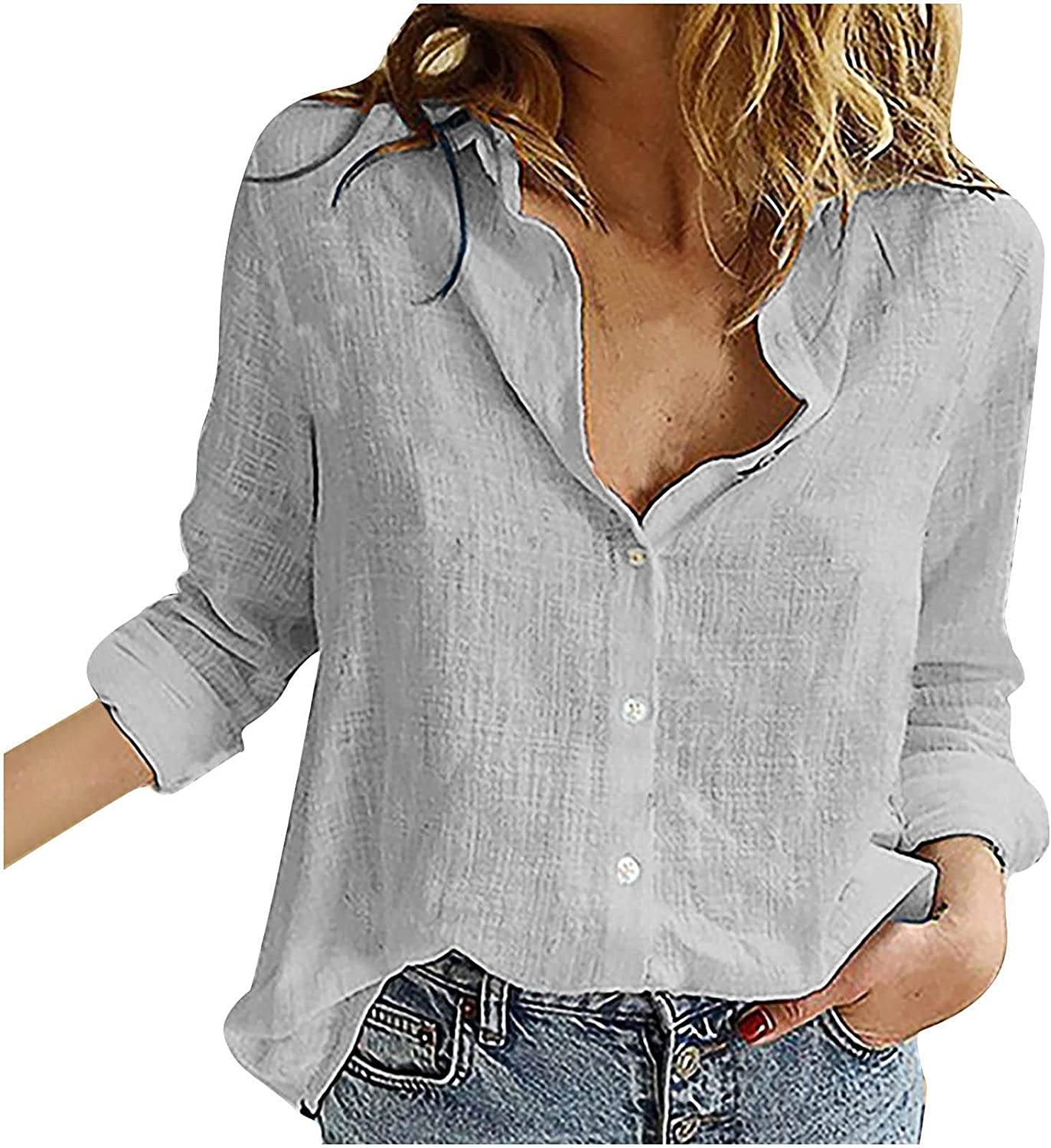 Women V Neck Roll Up Sleeve Shirt Button Down Blouses Tops Long Sleeve Blouse Cuffed Sleeve Casual Work Plain Tops