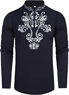 Pacinoble Men's Henley T Shirt Dashiki African Print Shirts Zip Up Slim Fit Blouse Top Long Sleeve Casual Cotton Hippie Shirt