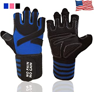 Weight Lifting Gloves Work Out Gym Gloves Men Women Crossfit with Wrist Wraps Support, Anti-Slip Grip Half Finger Gloves for Exercise, Weightlifting Hanging,Rowing,Biking,Training and More