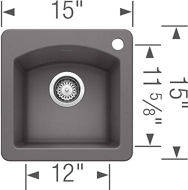 "BLANCO 441477 Diamond Silgranit Drop-in or Undermount, 15"" X 15"", Cinder"
