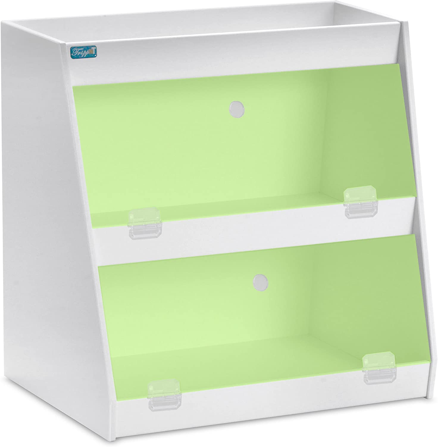 TrippNT 50106 PVC Angled Triple Safety Shelves with Green Door, 12-Inch Width x 12-Inch Height x 9-Inch Depth, Green White