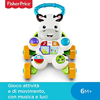 9cc9746c4faded Fisher Price Zebra Primi Passi Spingibile, Giocattolo Elettronico Educativo  con Musica e Suoni, per