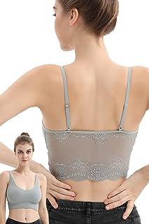 JIDENG Women's Casual V-Neck Spaghetti Strap Lace Cami Crop Top Wireless Bra for Girls