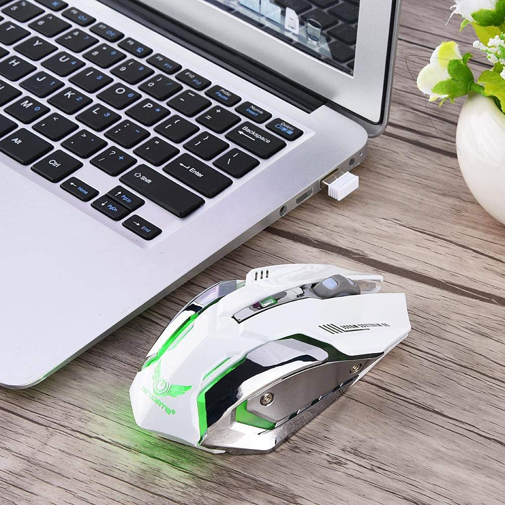 Speed-Adaptive Scroll Wheel Wireless Mouse Mice Ergonomic Design,2.4G Wireless Portable Mobile Mouse Optical Mice with USB Receiver and Rechargeable Mouse USB Cable High-Precision Sensor White