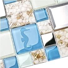 New Idea Tile Kitchen Bath Backsplash Accent Wall Decor TST Glass Metal Tile Marine Animals Icon Beach Style Inner Conch Sea Blue Mosaic Tiles TSTNB11 (10 Square Feet)