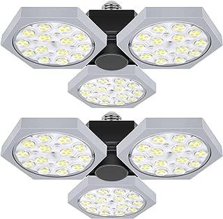 2-Pack LED Garage Lights, 7200 Lumens Deformable Shop Light for Garage, 60W Ceiling Trilights with 3 Adjustable Panels, 5000K Daylight White LED Light Bulbs, CRI 85+, E26 Base, for Basement Workshop