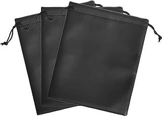 "BCP 3pcs 7.5x9"" Black Color PU Leather Double Drawstring Protection Headphone Pouch Bag headphone pouch (7.5x9"