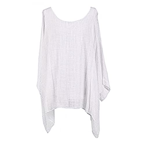db4ddf90578d26 Womens Cheese Cloth Loose Fit Batwing Holidays Beach Cotton Kimono Sleeve  Baggy Top Casual T-