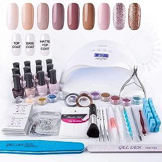 Gellen Gel Nail Polish Starter Kit 48W LED Nail Lamp, Delicate Gift Bag Selected 9 Colors Top Coat Base Coat, Luxury Manicure Pedicure Tools Popular Nail Art Decorations, Rose Pink Nudes