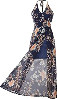 Jasambac Women's Casual Halter Maxi Dress Split Floral Summer Beach Sundress