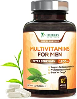 Once Daily Multivitamin for Men - with Whole Food & Organic Extracts with Vitamins C, D, E, B12, Saw Palmetto, Echinacea, Zinc, Calcium & Magnesium. Natural, Non-GMO Supplement - 120 Veggie Capsules