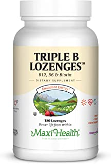 Maxi Health Triple B Lozenges - Vitamin B12 & B6 & Biotin - Strawberry Flavor - 180 Chewies - Kosher