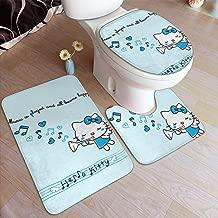 Bathroom Rug Set 3 Piece, Stylish Music Hello Kitty Print, Non Slip Bath Mat + U-Shaped Contour Rug + Toilet Lid Cover