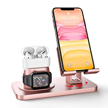 Imguardz 3 in 1 Charging Station Compatible with Apple Watch iPhone and Airpods, Charging Stand Dock for iWatch Series 5/4/3/2/1, AirPods Pro 2/1 and iPhone 11/12/pro/max//Xr/8/7 Plus/SE, Rose Gold