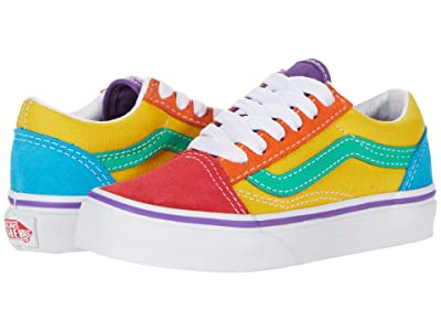 Vans Kids Old Skool (Little Kid/Big Kid) ((Rainbow Color-Block) Multi/True White) Girls Shoes