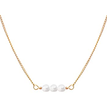 Dainty Necklaces for Women | Pearl Necklace for Women, with Three White Pearl Pendant, 14k Gold Dipped | Elegant Pearl Necklace Choker | 14k Dipped Gold Necklace for Women | June Birthstone Necklace