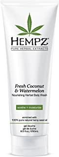Hempz Fresh Coconut and Watermelon Nourishing Herbal Body Wash, 8.5 oz. - Scented Shower Gel, Bath Soap with Anti-Aging Se...
